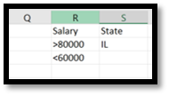 Setting up 'OR' criteria for salary