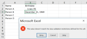 Excel complaining, rather cryptically!