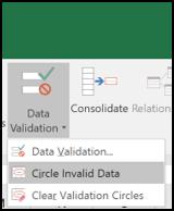 Choose the Circle Invalid Data option