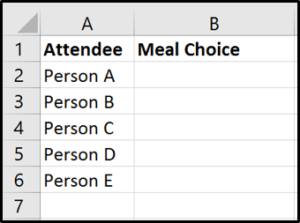 Tracking attendees menu choices